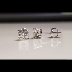 Jewelry - 1.0 TCW Diamond Solitaire Earrings 14K
